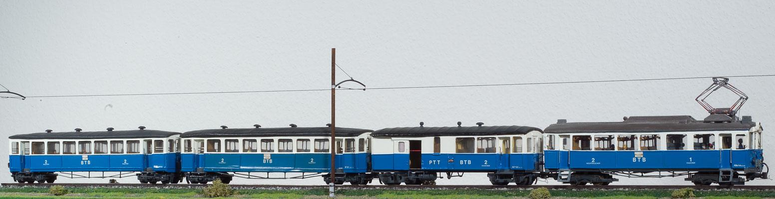 Alter Birsigthalbahnzug BTB in Spur 0m, gebaut von F. Schweyckart