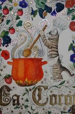 Enluminure pour menu de restaurant.  Création SC-enluminure. Sandra Clerbois