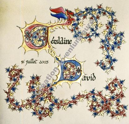 Lettrines enluminées D et G comme David et Géraldine. Création SC-enluminure