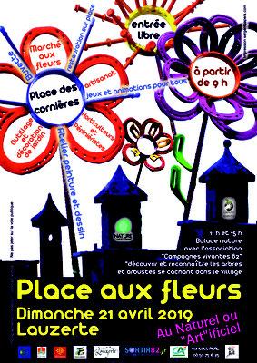 Affiche pour la manifestation place aux fleurs 2018 réalisation Sandra Clerbois