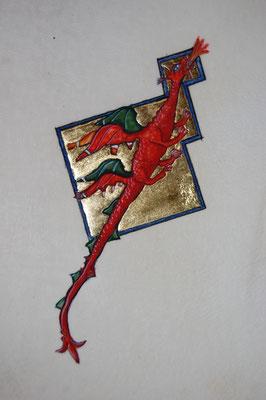 Enluminure dragon réalisée par un élève pendant les cours d'enluminure dispensés par Sandra Clerbois.