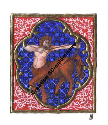 Signe du zodiaque enluminé Sagittaire. Enluminure originale. Création SC-enluminure. Sandra Clerbois