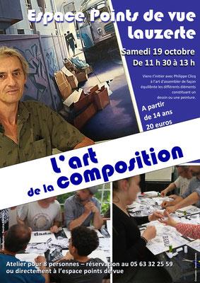 Affiche pour le stage de Philippe Clicq à l'Espace Points de Vue, réalisation Sandra Clerbois