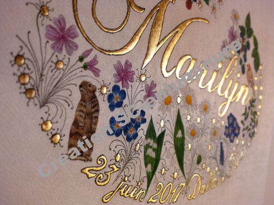 Prénom enluminé M comme Marilyn. Création SC-enluminure