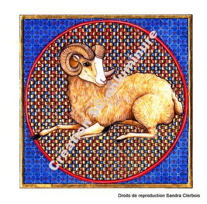 Signe du zodiaque enluminé Bélier. Enluminure originale. Création SC-enluminure. Sandra Clerbois