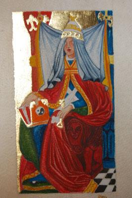 Enluminure carte de tarot réalisée par un élève pendant les cours d'enluminure dispensés par Sandra Clerbois.