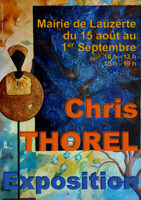 Affiche pour l'exposition de Chris Thorel à la mairie, réalisation Sandra Clerbois