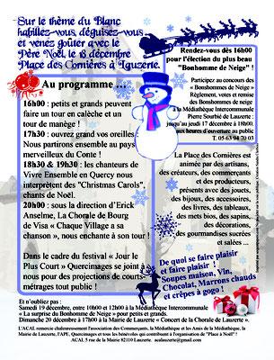 Programme pour la manifestation Place à Noël 2015, réalisation Sandra Clerbois