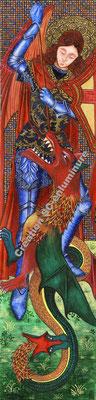 Miniature St Michel terrassant le dragon. Création SC-enluminure. Sandra Clerbois