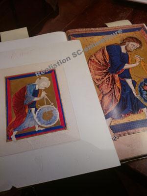 Dieu, architecte de l'univers, f.1v Bible moralisée de Vienne (Codex 2554) Miniature réalisée par SC-enluminure. Sandra Clerbois