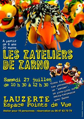 Affiche pour le stage de Zarno à l'Espace Points de Vue, réalisation Sandra Clerbois