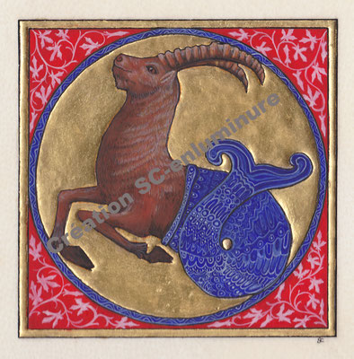 Signe du zodiaque enluminé Capricorne. Enluminure originale. Création SC-enluminure. Sandra Clerbois