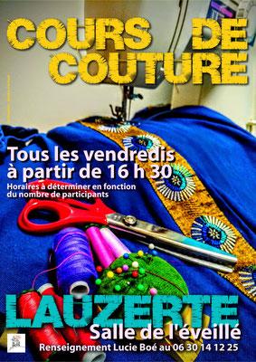 Affiche pour les cours de couture de Lucie Boé, réalisation Sandra Clerbois