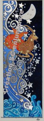 Signe du zodiaque enluminé Capricorne format marque-pages. Enluminure originale. Création SC-enluminure. Sandra Clerbois