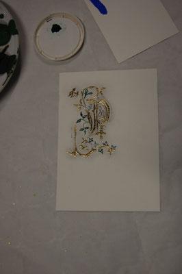 Réalisation d'une lettrine en stage de découverte de l'enluminure chez SC-enluminure