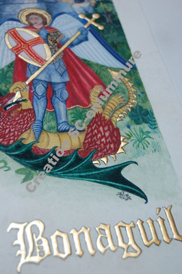 Miniature St Michel terrassant le dragon devant le château de Bonaguil. Création SC-enluminure. Sandra Clerbois