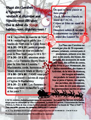 Programme pour la manifestation Place à Noël 2016, réalisation Sandra Clerbois