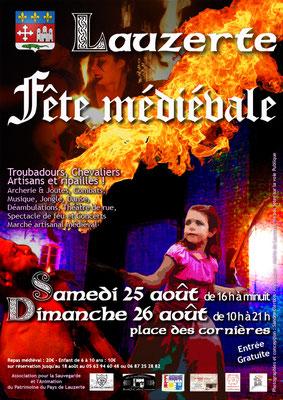 Affiche pour les médiévales Lauzerte 2018 réalisation Sandra Clerbois