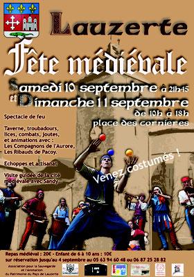 Affiche pour les médiévales Lauzerte 2017 réalisation Sandra Clerbois