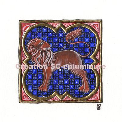 Signe du zodiaque enluminé Lion. Enluminure originale. Création SC-enluminure. Sandra Clerbois
