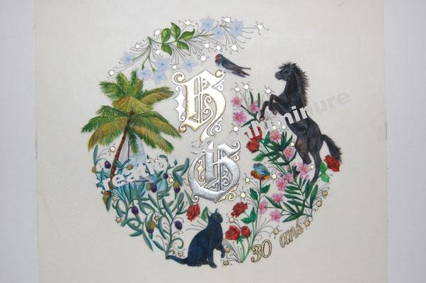 Lettrines enluminées H et G. Création SC-enluminure. Sandra Clerbois