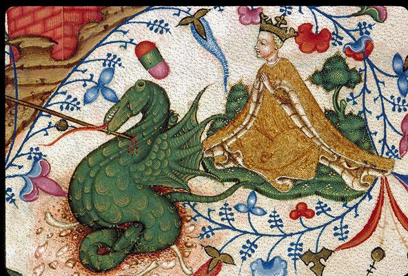Le Saint Georges terrassant le dragon est reproduit d'après le bréviaire de Marie de Savoie.