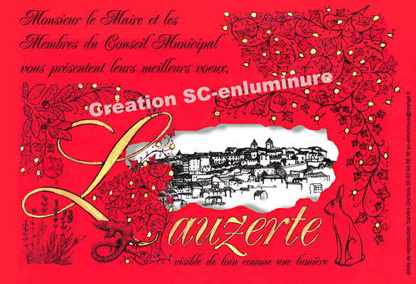 Carte de voeux popup enluminée Lauzerte. Création SC-enluminure. Sandra Clerbois