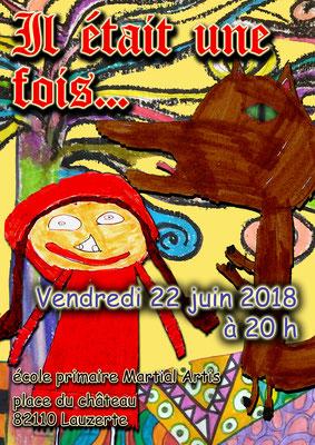 Affiche pour le spectacle des écoles 2018 réalisation Sandra Clerbois