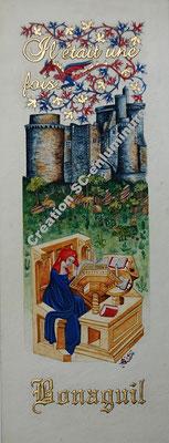 Miniature Christine de Pizan devant le château de Bonaguil. Création SC-enluminure. Sandra Clerbois