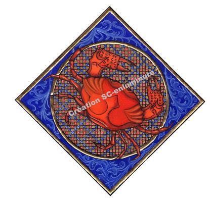 Signe du zodiaque enluminé Cancer. Enluminure originale. Création SC-enluminure. Sandra Clerbois