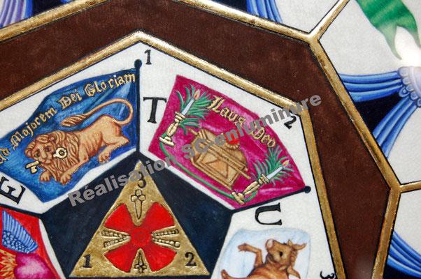 Enluminure sceau du grade du sublime prince du royal secret. (détail) Réalisation SC-enluminure. Sandra Clerbois