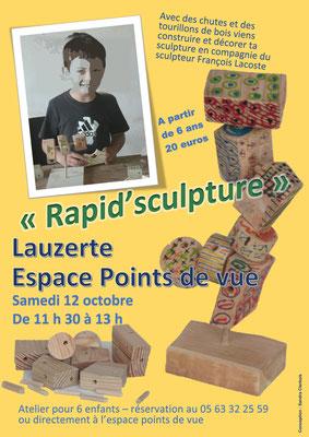 Affiche pour le stage de François Lacoste à l'Espace Points de Vue, réalisation Sandra Clerbois