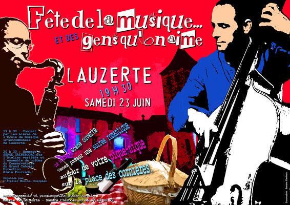 Fête de la musique Lauzerte 2018, réalisation Sandra Clerbois