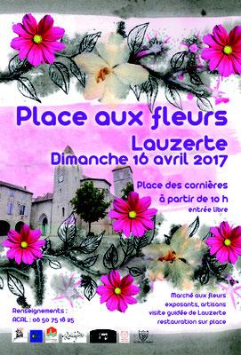 Affiche pour la manifestation Place aux Fleurs 2017 réalisation Sandra Clerbois