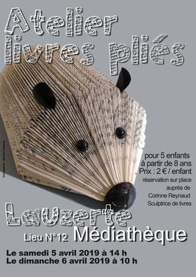 Affiche pour le stage de pliage de livres à la médiathèque pour les JEMA 2019, réalisation Sandra Clerbois