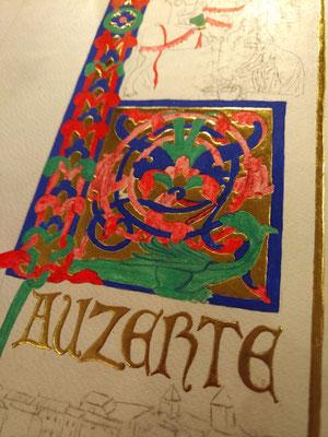 L comme Lauzerte et la légende de la Gandillone. Miniature réalisée par SC-enluminure. Sandra Clerbois