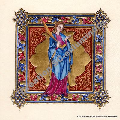 Signe du zodiaque enluminé Vierge. Enluminure originale. Création SC-enluminure. Sandra Clerbois