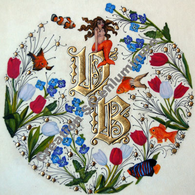 Lettrines enluminées V et B. Création SC-enluminure. Sandra Clerbois