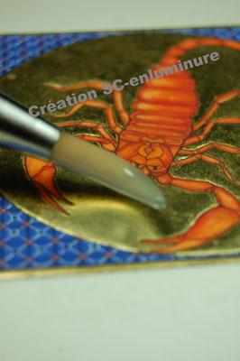 Signe du zodiaque enluminé Scorpion. Enluminure originale. Création SC-enluminure. Sandra Clerbois