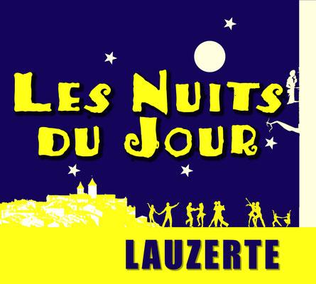 Logo pour les Nuits du Jour Lauzerte, réalisation Sandra Clerbois