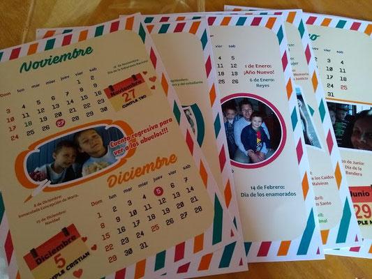 Calendario para colgar extra grande tamaño 30x21 (hoja A4)