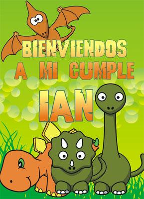 Dinosuarios cartel de bienvenida