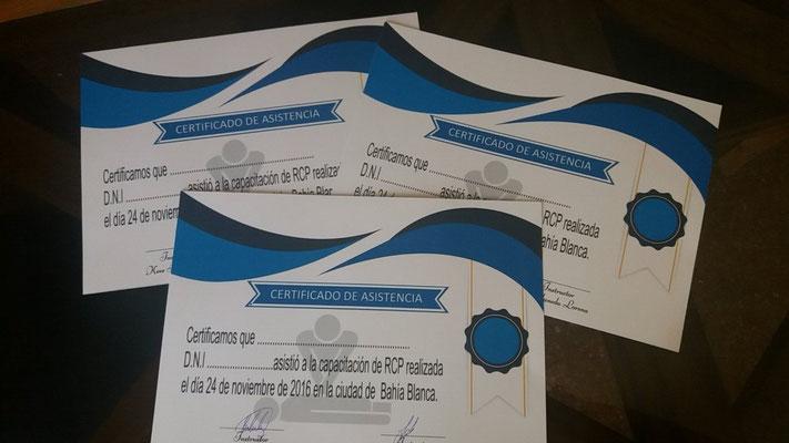Preparando los certificados para la entrega en la capacitacion de RCP !!  Gracias Lorena por envianos fotos #Argentina