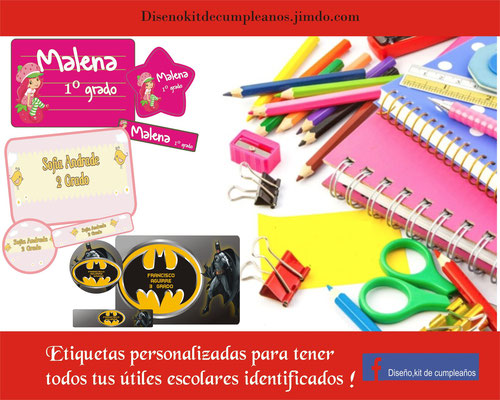 Etiqueta para lápices 4.5 cm x 1cm Etiqueta para cuaderno 5 cm x 7cm Etiqueta redonda varia 3 cm x 3 cm