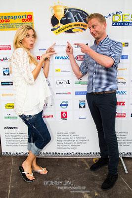 Urs Sahli und Monika Erb. Moderation Astag Truck Girl 2015. Astag Award. Trucker Festival 2015.