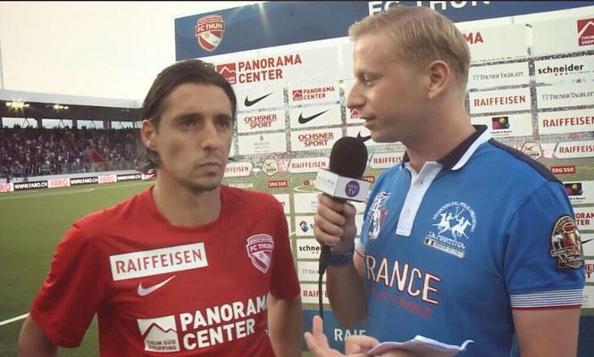 Urs Sahli @ Arena TV FC Thun (Stockhorn Arena) Interview Nelson Ferreira