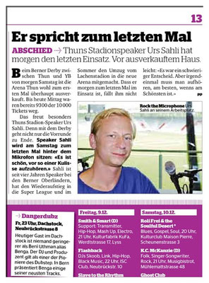 Urs Sahli@ Arena Thun, Stadionspeaker beim FC Thun.