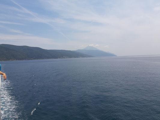 Mit der Fähre von Dafni zurück nach Ouranoupoli