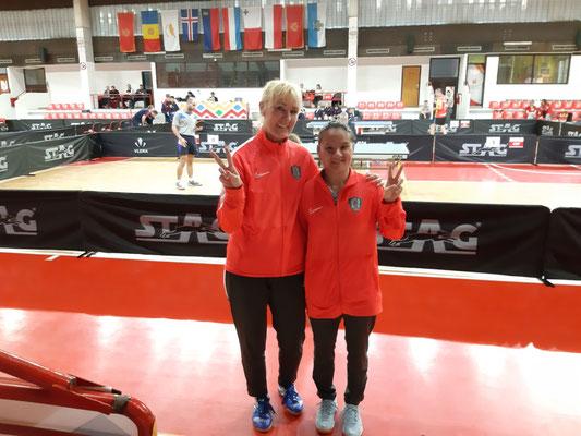 Die Siegerinnen im Tischtennis aus Monaco, Xiaoxin Yang und Ulrika Quist