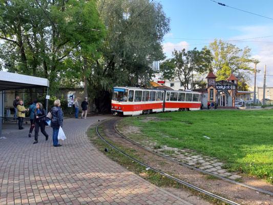 Straßenbahn am Wendehammer der Endstation, Kaliningrad
